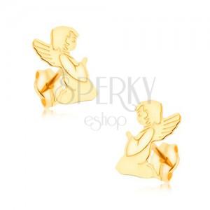 375 arany fülbevaló - gravírozott, imátkozó angyal, tükörfény