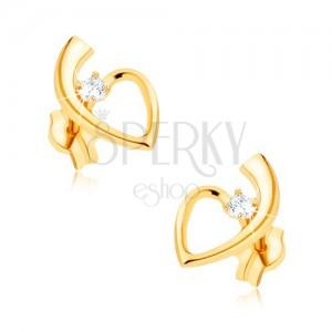 375 arany fülbevaló, fényes, szív kontúr szárral, kerek cirkónia