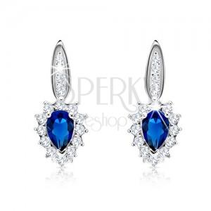 925 ezüst fülbevaló - kék cirkónia, átlátszó keret, szűk sáv, átlátszó cirkóniákkal