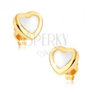 Ródiumozott fülbevaló 9K aranyból, fényes, sárga kontúr, fehér közép
