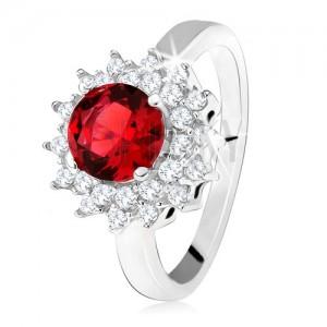 Gyűrű piros kerek kővel és átlátszó cirkóniákkal, napocska, 925 ezüst