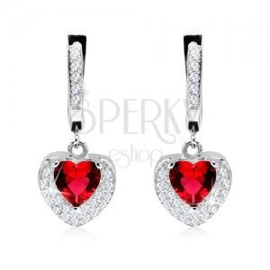 Ezüst fülbevaló 925, medál piros cirkóniával, kettős szív, átlátszó kövek