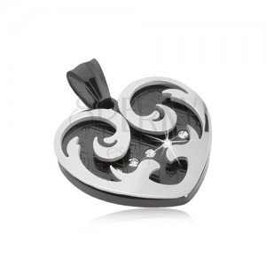 Medál acélból, szív ezüst és fekete ornamentumokkal, cirkóniák