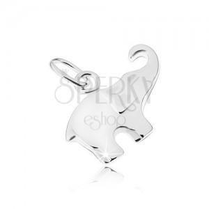 Fényes és lapos elefánt medál, ezüst 925