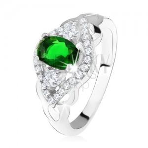 Ezüst gyűrű 925, sötétzöld kő, átlátszó cirkóniás szegély, szem alak