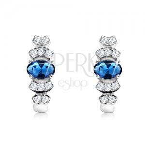 Ezüst fülbevaló 925, ovális kék kővel, kerek vonal átlátszó cirkóniákkal
