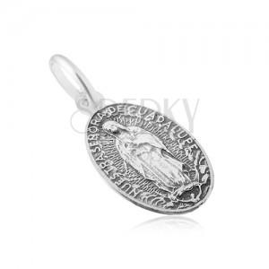 Matt ovális medál Szűz Máriával, 925 ezüstből