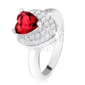 Gyűrű piros cirkóniával, átlátszó kövek, kettős szív,925 ezüst
