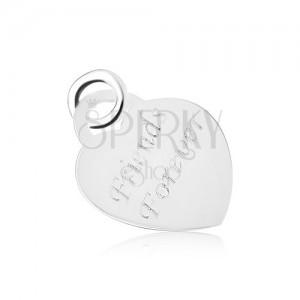 Ezüst 925 medál, egyenletes szív, fényes és lapos, Friends Forever