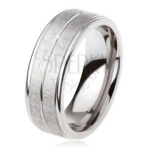 Titán gyűrű, ezüst színben, matt felület, véset középen