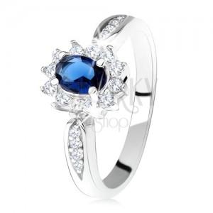 Eljegyzési gyűrű 925 ezüstből, sötétkék, ovális cirkónia, átlátszó keret