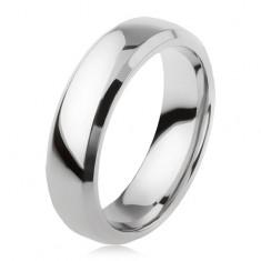 Karikagyűrű titánból, ezüst színben, fényes felület, csiszolt szegélyek