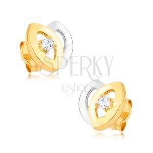 Ródiumozott, kétszínű fülbevaló 9K aranyból - tulipán, kivágások, cirkónia