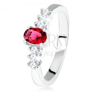 925 ezüst eljegyzési gyűrű, ovális, piros kő, átlátszó cirkóniák