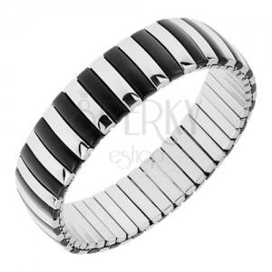 Széthúzható karkötő acélból, sávok ezüst és fekete színben