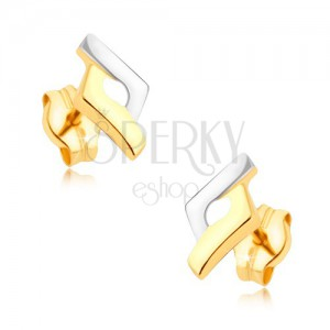 Ródiumozott kétszínű fülbevaló 9K aranyból - rombusz, kiemelkedő szélek