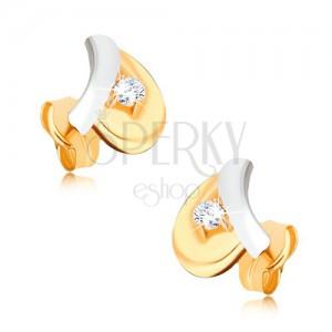 Ródiumozott 375 arany fülbevaló - fehér szár, sárga levél, kerek cirkónia
