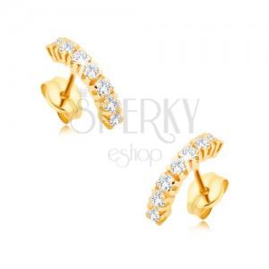 Fülbevaló 9K sárga aranyból - kisebb, lekerekített vonal, átlátszó cirkóniákból