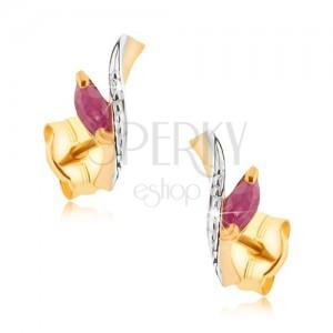 Ródiumozott 375 arany fülbevaló - kétszínű szár, piros cirkóniás levél