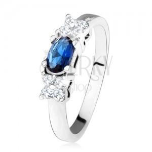 Fényes gyűrű - 925 ezüst, sötétkék, ovális cirkónia, lóhere, átlátszó kövek