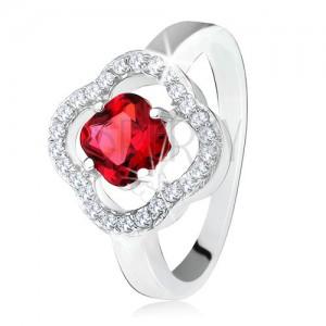 925 ezüst gyűrű, csiszolt, piros kő, átlátszó cirkóniák, virág