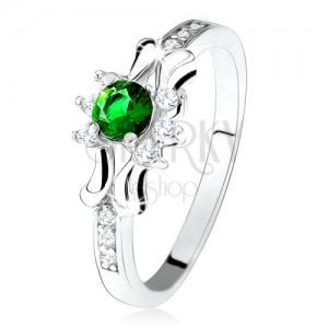 925 ezüst gyűrű, zöld, kerek cirkónia, három, átlátszó kő, díszített szárak