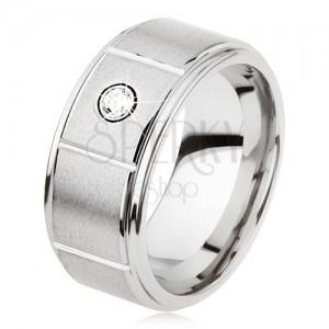 Tungsten gyűrű, ezüst színben, bemetszésekkel, matt, szürke felület, cirkónia
