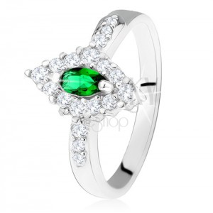 925 ezüst gyűrű, rombusz, sötétzöld szemmel és átlátszó kerettel