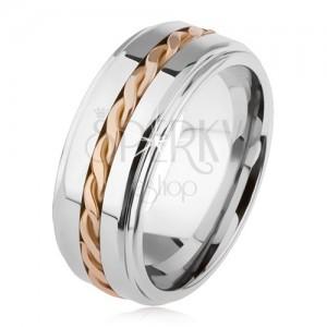 Fényes tungsten gyűrű, ezüstözött, kiemelkedő közép rész, fonott minta