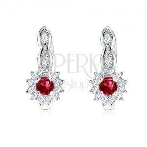 Fülbevaló 925 ezüstből, kerek, piros cirkónia, átlátszó keret, napocska