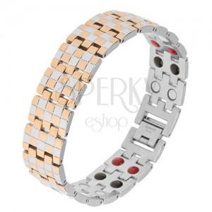 Fényes karkötő acélból, aranyozott és ezüst szín, sakktábla minta, mágnesek