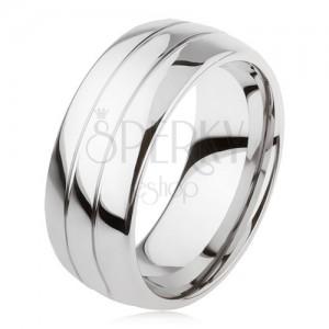Sima tungsten gyűrű, enyhén kidomborodó, fényes felszín, két bevágás