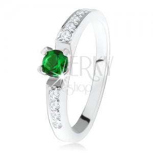 Ezüst eljegyzési gyűrű 925, kerek zöld kő, átlátszó cirkóniás vonal