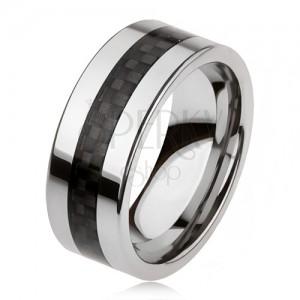 Tungsten karikagyűrű ezüst színben fekete középső sávval, háló