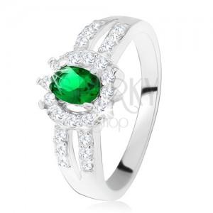 Gyűrű 925 ezüstből, sötétzöld kő, kettős díszített szárak