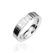 Gyűrű acélból - tiszta cirkónia, mintás