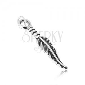 Fényes medál 925 ezüstből, hosszúkás toll, enyhe patina