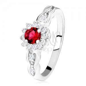 Eljegyzési gyűrű 925 ezüstből, piros, kerek cirkónia átlátszó kerettel