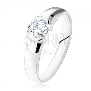 925 ezüst eljegyzési gyűrű, kerek, átlátszó kő, fényes felület