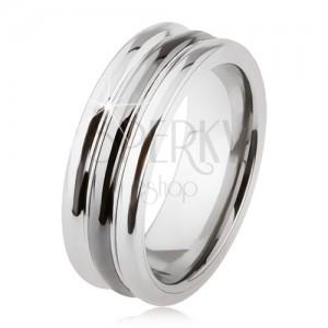 Wolfrám gyűrű fényes felülettel, két bemetszés, fekete és ezüst szín