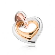Kettős acél medál, ezüst, réz és arany színben, asszimetrikus szívek