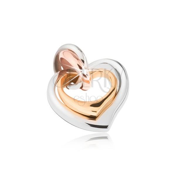 Kettős acél medál, ezüst, réz és arany színben, aszimmetrikus szívek