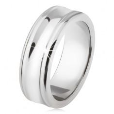 Titán gyűrű - ezüst szín, fényes, süllyesztett középső sáv