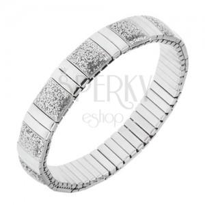 Széthúzható karkötő ezüst színű acélból, fényes sávok, glitteres elemek