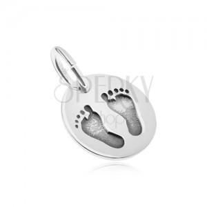 Ezüst 925 medál, ovális forma, tükörfényes felület, talpacskák lenyomat