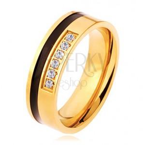 Acél gyűrű arany és fekete színben, díszített vonal átlátszó cirkóniákból