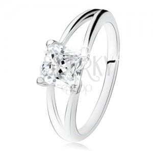 925 ezüst gyűrű, kettős szárak, négyzetes, átlátszó cirkónia