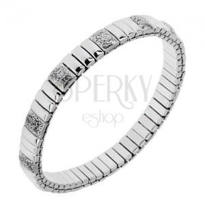 Széthúzhatós karkötő acélból, ezüst színben, fényes, hosszúkás részek