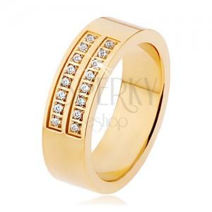 Acél gyűrű arany színben, tiszta cirkóniák kettős sora