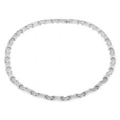 """Mágneses nyaklánc acélból, ezüst szín, """"X"""" elemek, szívek"""